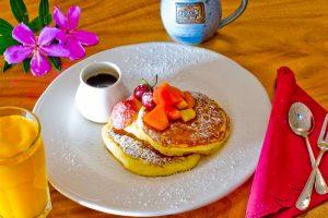pancakes with orange juice and coffee