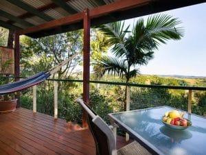 hammock and dining set on verandah